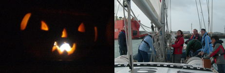 Pumpkin carving on a Hallowe'en voyage - and how many RYA instructors does it take to hoist a sail?