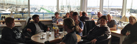 Breakfast in Lymington during the shakedown voyage