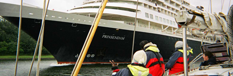 A cruise ship passing John Laing in the Kiel Canal, 2005