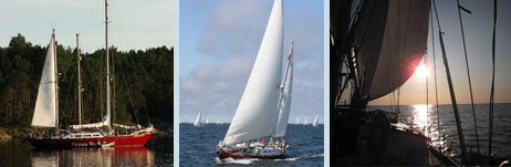 At anchor in Finland; the start line in Turku; race 2 in light winds